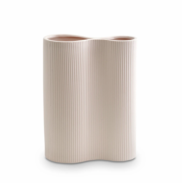 Ribbed Infinity Vase (m) - Nude