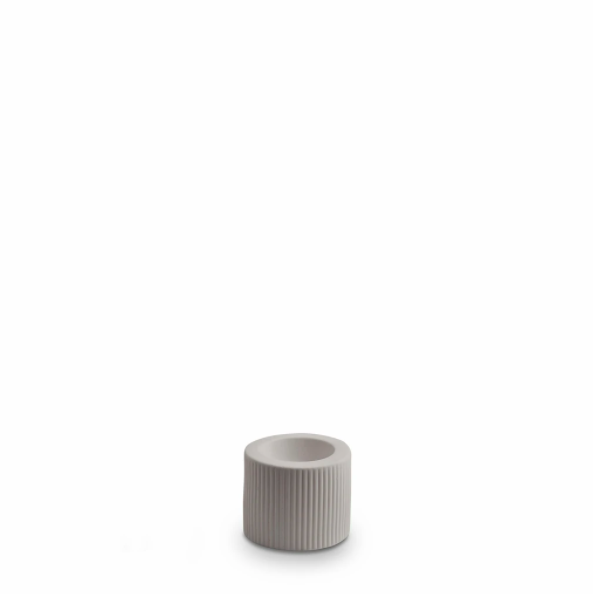 Ribbed Infinity Candle Holder - Light Grey