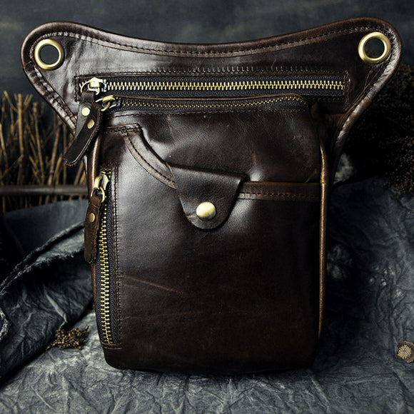 Men Genuine Leather  Leg Bag