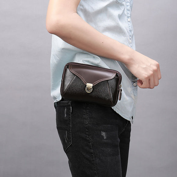 Genuine Leather Man Waist Packs