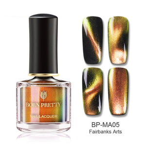 BORN PRETTY Chameleon 3D Cat Eye Nail Polish Magnetic Aurora Series Varnish Magnet Nail Art Lacquer Black Base Needed
