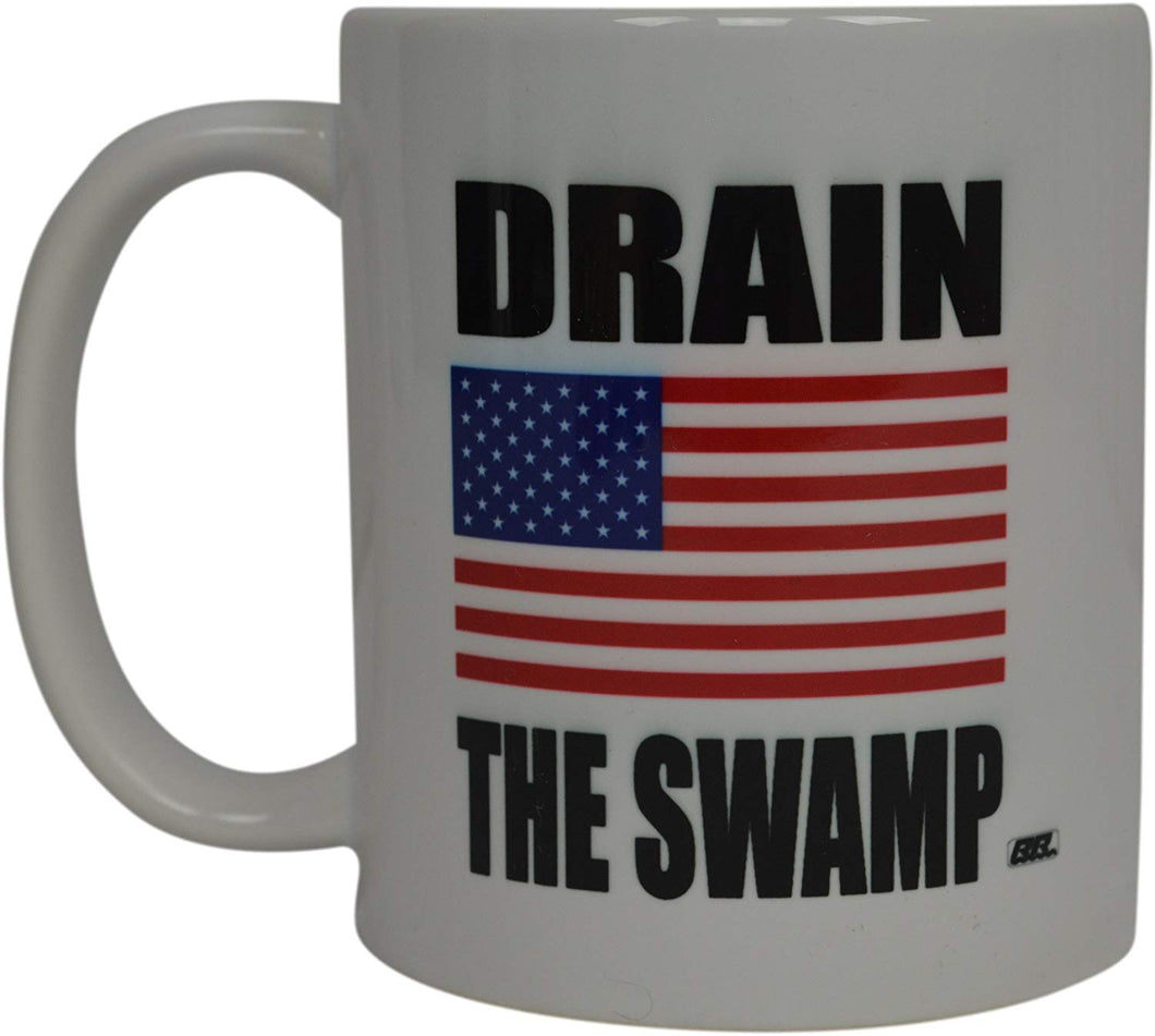 Republican Conservative Coffee Mug USA Flag American Drain The Swamp Novelty Cup National Anthem Gift For Men Dad Father Husband Military Veteran Conservative USA Flag