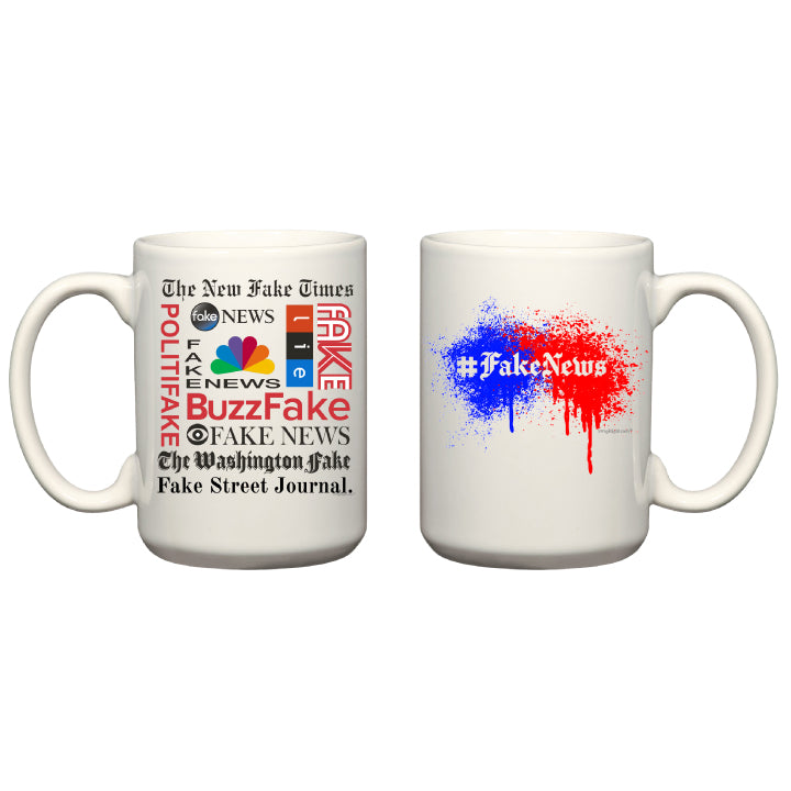 #FakeNews Paint Splatter -  White Coffee Mug
