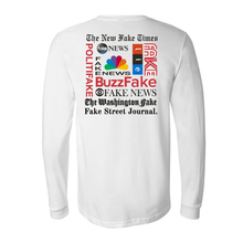 Load image into Gallery viewer, Fake News Satirical White Long Sleeve Shirt with Parody of Famous Fake News Websites, Wear for 2020 Debates, limited supply