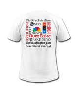 Load image into Gallery viewer, #FakeNews Abstract Paint, Red, Blue, Fake News Satirical White Shirt with Parody of Famous Fake News Websites, Wear for 2020 Debates, Made in America