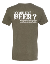 "Load image into Gallery viewer, Army Green or Olive ""I Like Beer"" Unisex Shirt Featuring the Famous Justice Brett Kavanaugh Quote, Representing the Washington Free Beacon's Conservative Podcast. Funny T-Shirt for all Patriotic Americans."