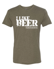 "Load image into Gallery viewer, Army Green or Olive ""I Like Beer"" Unisex Shirt Featuring the Famous Justice Brett Kavanaugh Quote, Representing the Washington Free Beacon's Right-Wing Podcast. Funny Tee for all Patriots."