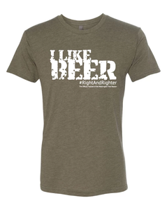"Army Green or Olive ""I Like Beer"" Unisex Shirt Featuring the Famous Justice Brett Kavanaugh Quote, Representing the Washington Free Beacon's Right-Wing Podcast. Funny Tee for all Patriots."