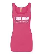 "Load image into Gallery viewer, Pink ""I Like Beer"" Women's Tank Top Featuring the Famous Justice Brett Kavanaugh Quote, Representing the Washington Free Beacon's Right-Wing Podcast. Funny Tank for Patriotic Ladies."
