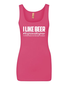 "Pink ""I Like Beer"" Women's Tank Top Featuring the Famous Justice Brett Kavanaugh Quote, Representing the Washington Free Beacon's Right-Wing Podcast. Funny Tank for Patriotic Ladies."