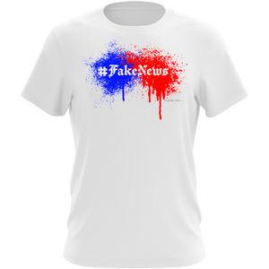 #FakeNews Abstract Paint, Red, Blue, Fake News Satirical White Shirt with Parody of Famous Fake News Websites, Wear for 2020 Debates, Made in America