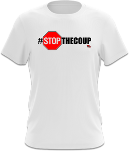 red shirt, white shirt, #StopTheCoup, Stop the Coup, President Trump, Donald Trump, Trump, Trump 2020, stop sign design, hashtag, republican