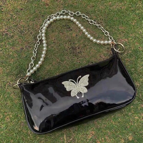 Pearl Butterfly Baguette Bag