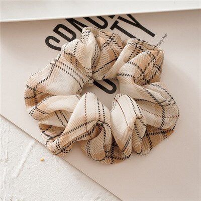 Cream Plaid Scrunchie