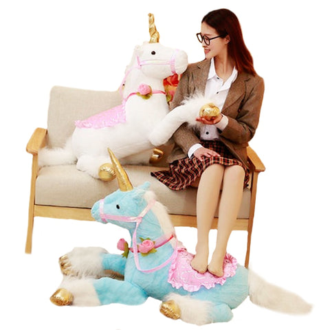 Huge Unicorn Horse Plush Cuddle Animal - in three colors