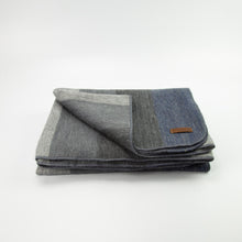 Load image into Gallery viewer, Alpaca blanket - Dark Denim Stripe