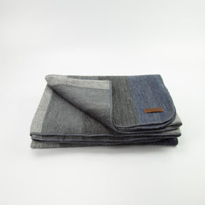 Alpaca blanket - Dark Denim Stripe