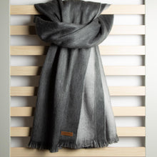 Load image into Gallery viewer, Double-faced Alpaca Shawl - Grey Clouds