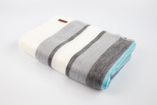 Load image into Gallery viewer, Alpaca blanket - Blue Topaz Stripe