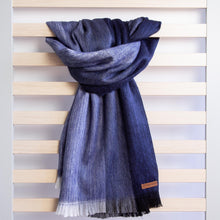 Load image into Gallery viewer, Alpaca scarf - Dark Blue Stripe