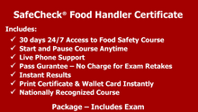 Load image into Gallery viewer, Food Handler Certification - SafeCheck® Advanced  - Includes Exam - Pass Guarantee
