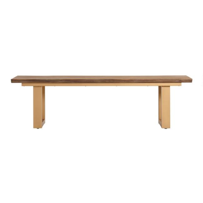 Live Edge Wood And Gold Metal Sloan Dining Bench