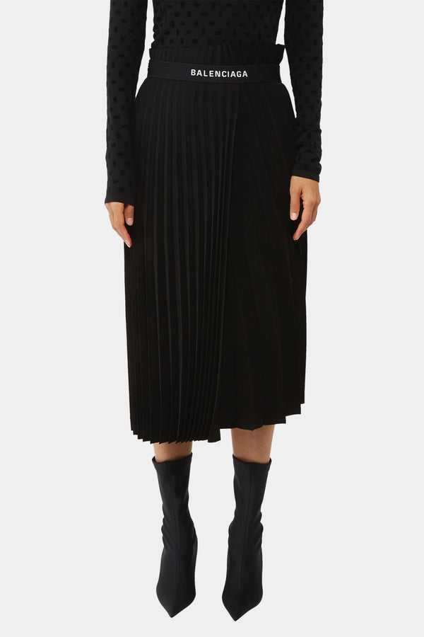 Balenciaga Black pleated skirt with logo