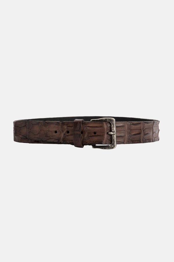 Ceinture en crocodile marron
