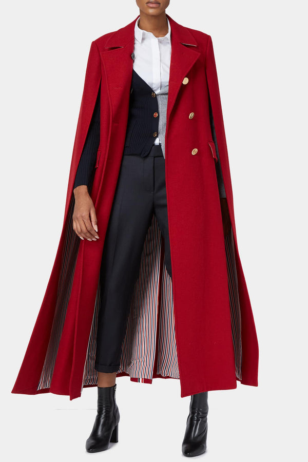 Manteau cape en laine rouge Thom Browne