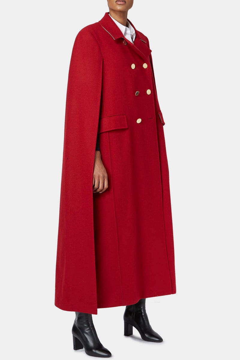 Manteau cape en laine rouge