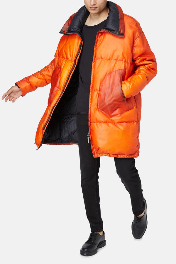 Manteau rembourré en cuir orange Isaac Sellam