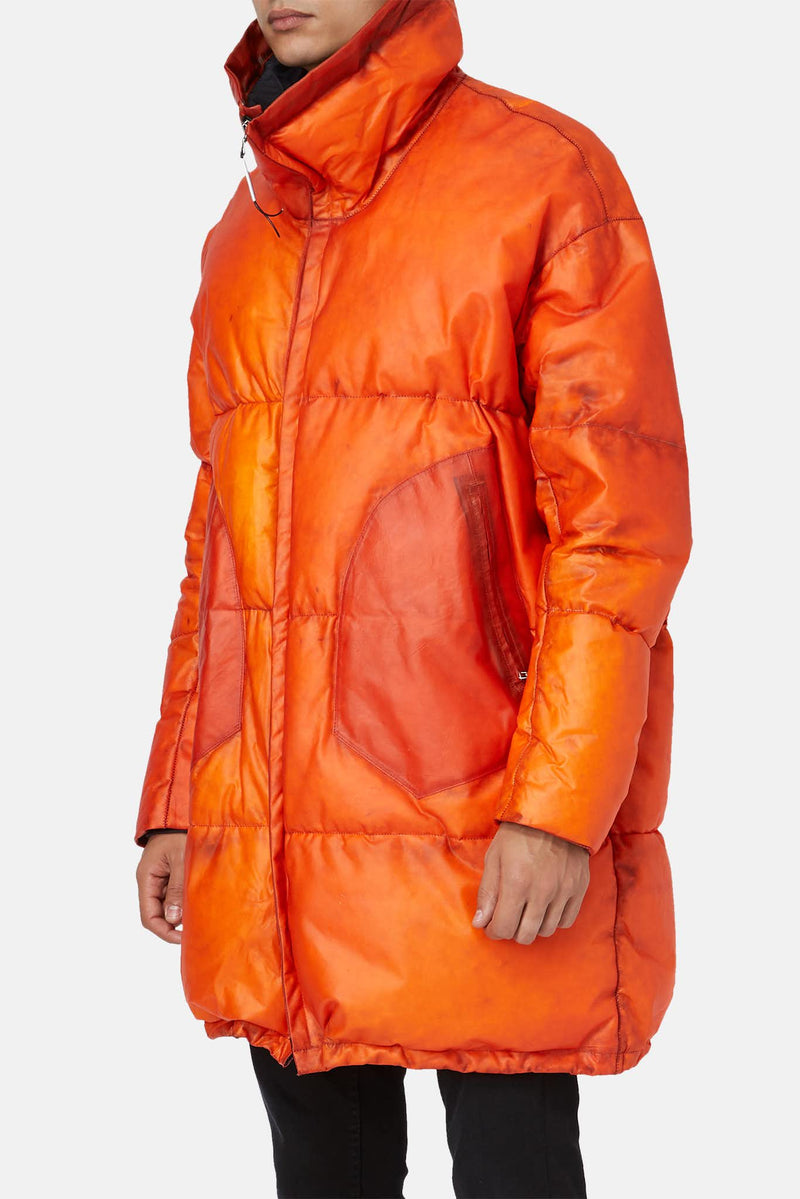 Manteau rembourré en cuir orange