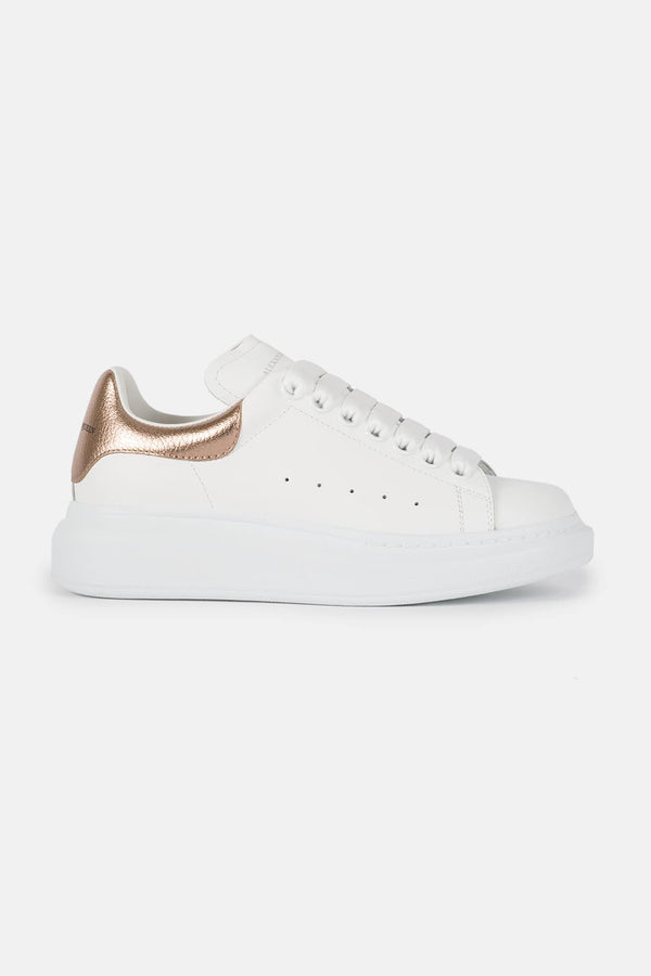 Baskets blanches et or rose Alexander McQueen