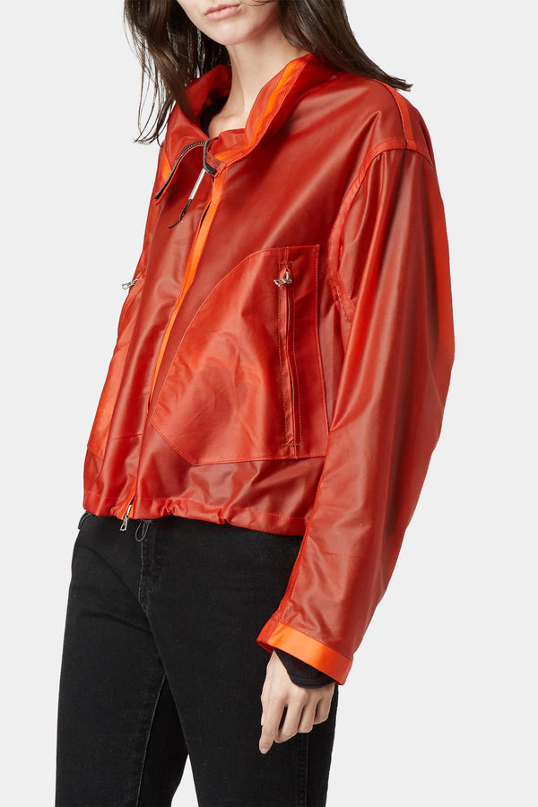 "Veste en cuir orange ""Deconnectée"""