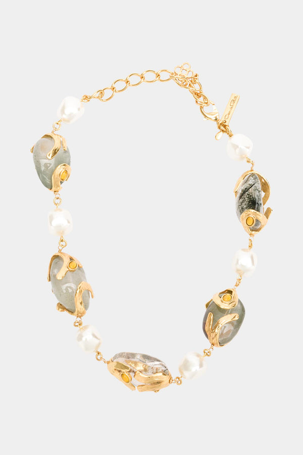 "Collier en perles et Quartz ""Caged"""