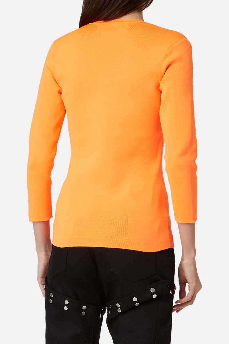 Pull côtelé orange fluo Juun.J