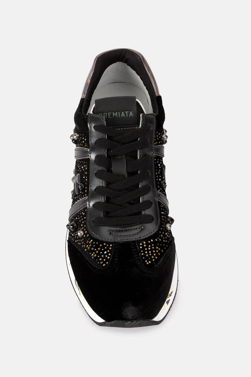 Baskets basses en velours noires Conny Premiata