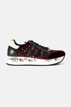 Baskets basses en velours bordeaux Conny Premiata