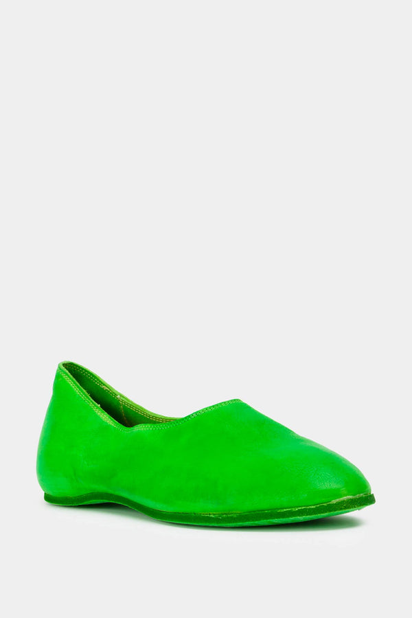 Guidi Neon green leather ballerinas