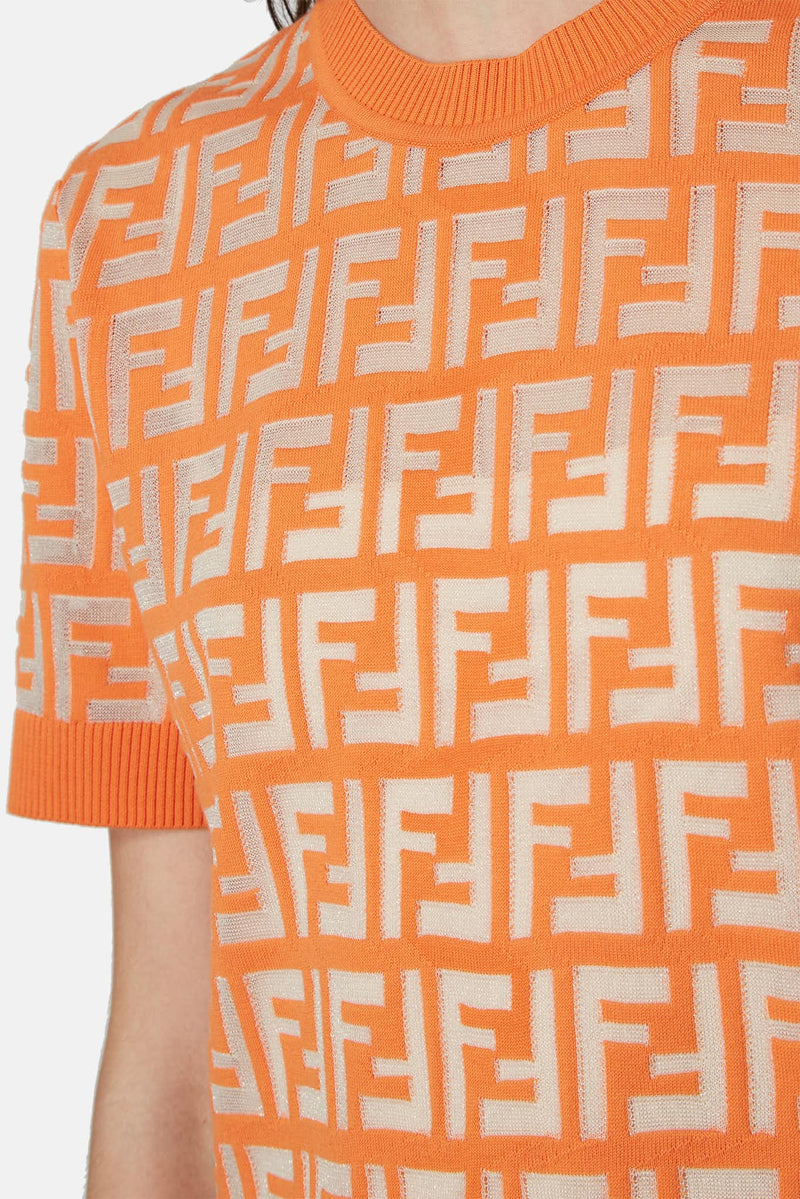 Pull à motif FF orange Fendi