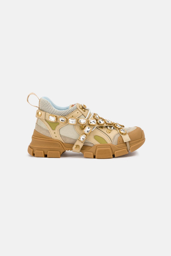 Baskets beiges en cristaux Flashtrek Gucci