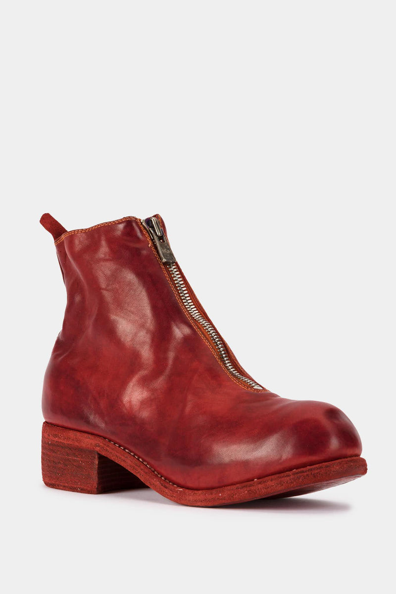 Guidi Bottines en cuir rouges