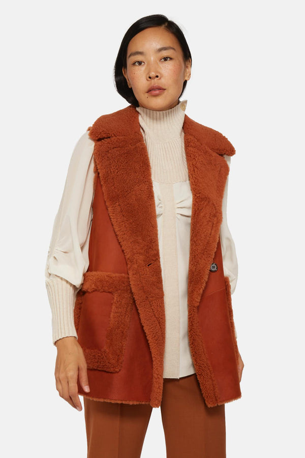 Gilet en cuir orange Chloé