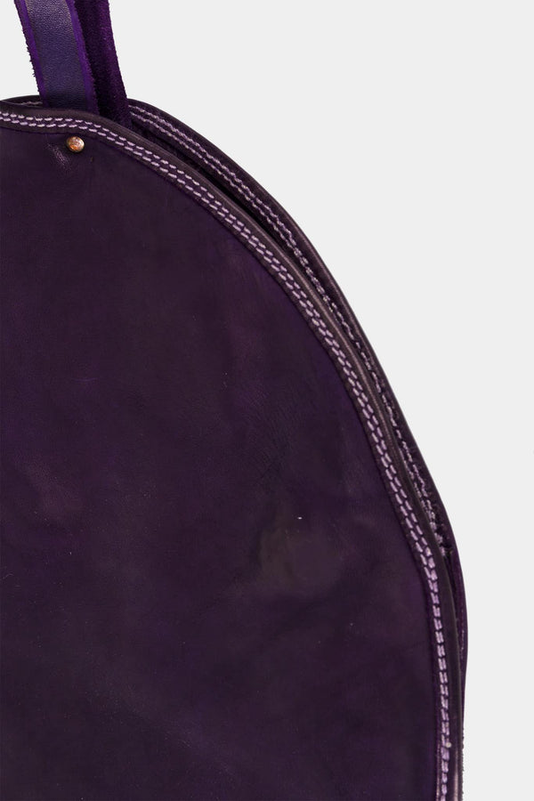 Guidi Round Bag in purple leather