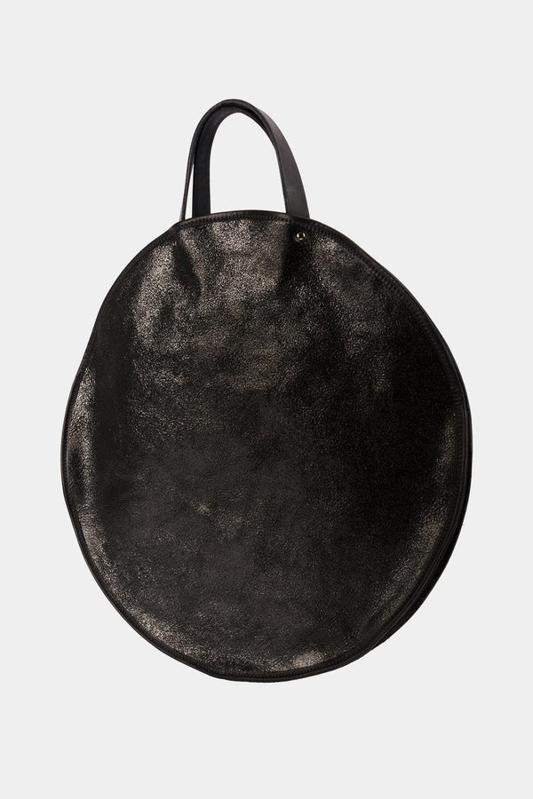 Guidi Round black leather tote bag