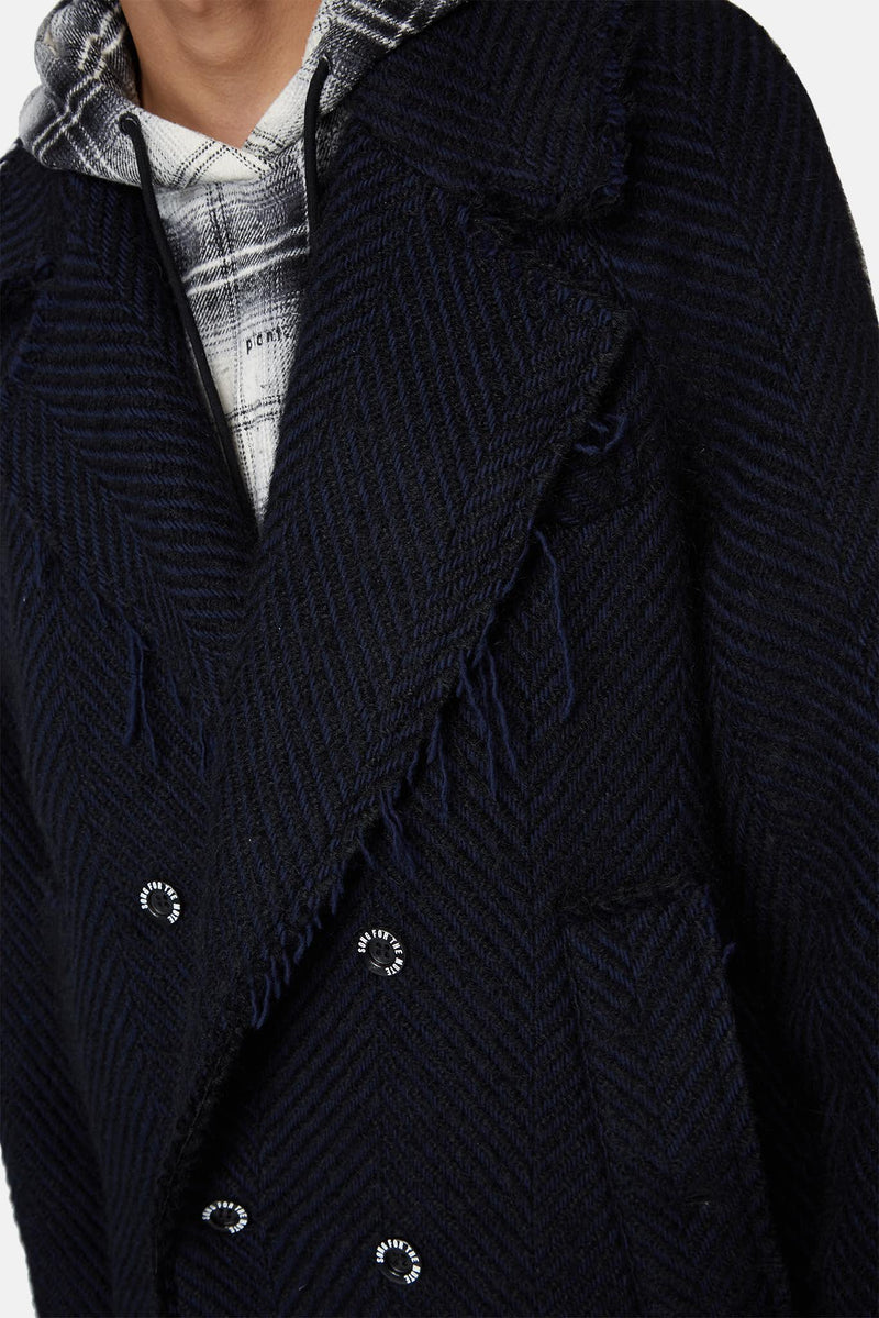 Manteau en laine noir et bleu marine Song for the Mute
