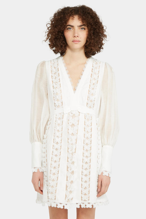 Zimmermann Robe blanche à broderies Zimmermann