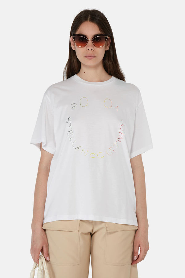 T-shirt blanc à imprimé multicolore Stella McCartney