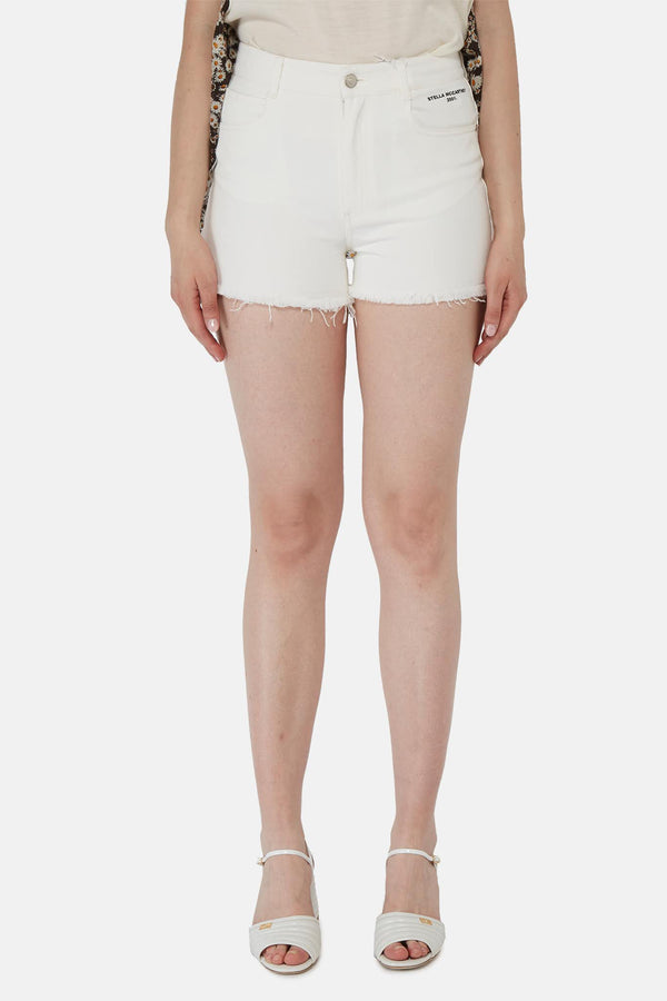 Short blanc en jean à bords effilochés Stella McCartney