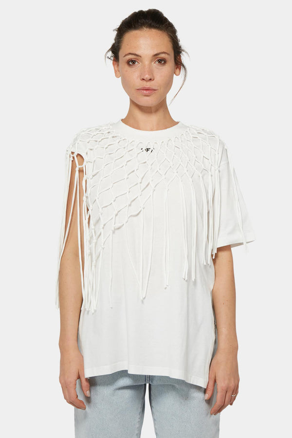 T-shirt blanc à franges Off-White